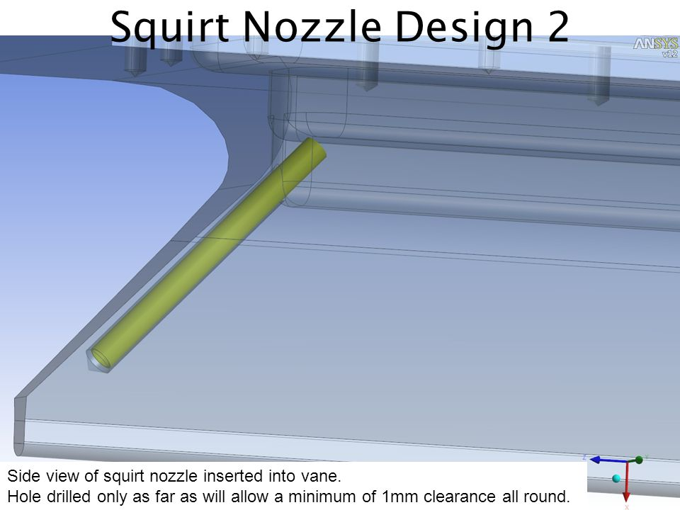 Squirt Nozzle Design 2 Side view of squirt nozzle inserted into vane. Hole drilled only as far as will allow a minimum of 1mm clearance all round.