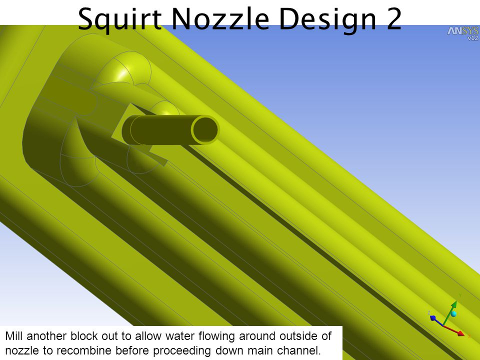 Squirt Nozzle Design 2 Mill another block out to allow water flowing around outside of nozzle to recombine before proceeding down main channel.
