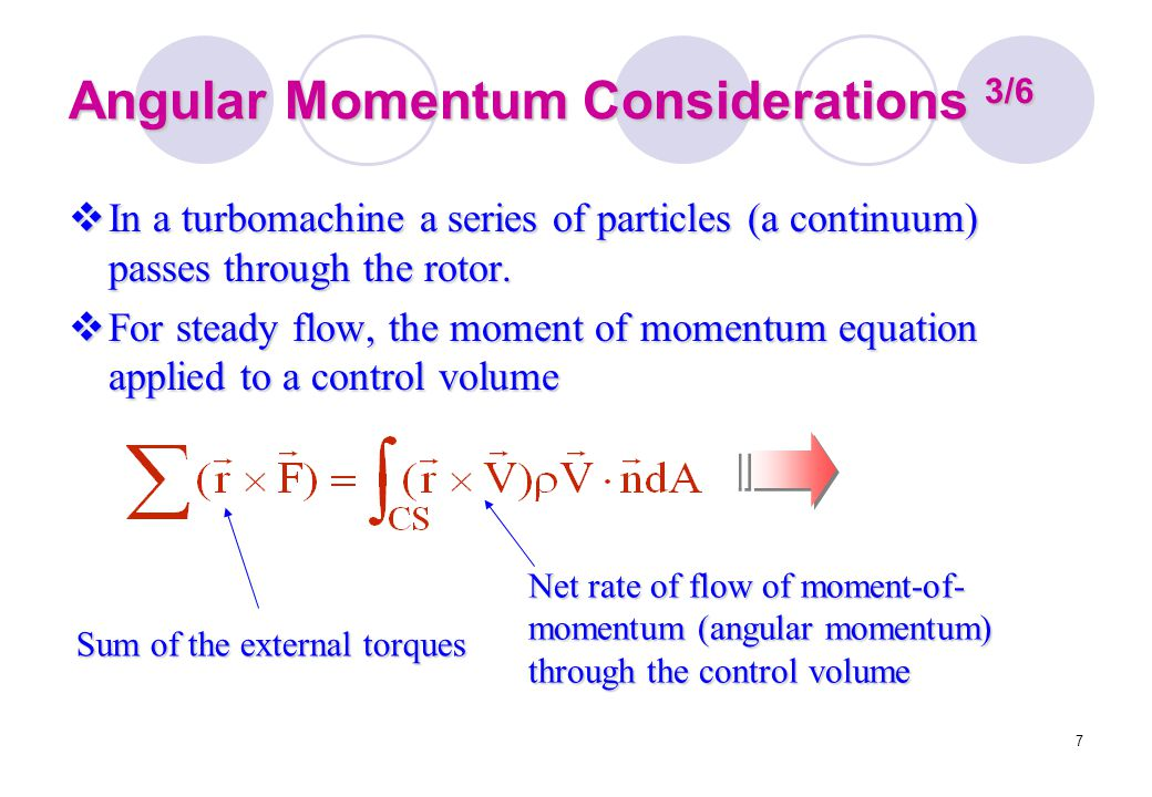 7 Angular Momentum Considerations 3/6  In a turbomachine a series of particles (a continuum) passes through the rotor.  For steady flow, the moment