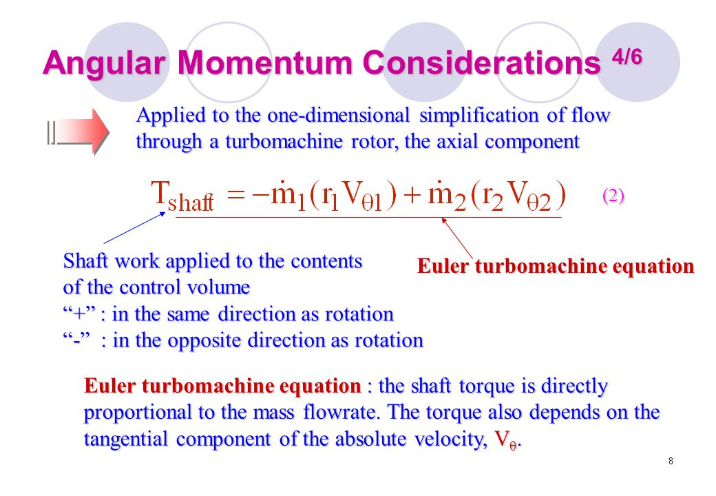 """8 Angular Momentum Considerations 4/6 Shaft work applied to the contents of the control volume """"+"""" : in the same direction as rotation """"-"""" : in the op"""