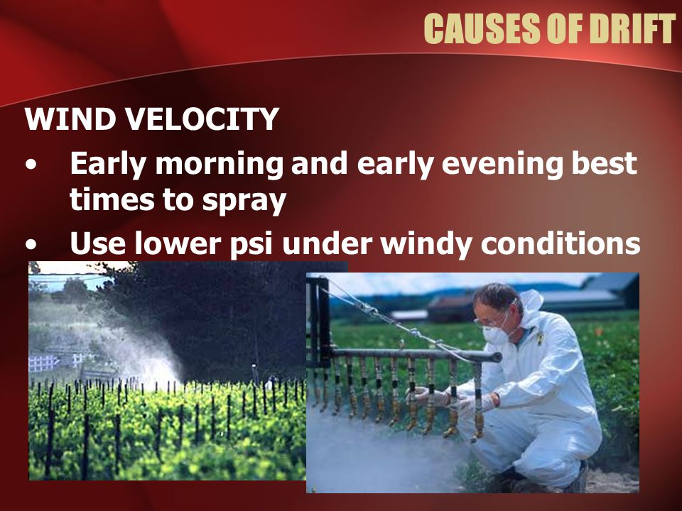 CAUSES OF DRIFT WIND VELOCITY Early morning and early evening best times to spray Use lower psi under windy conditions