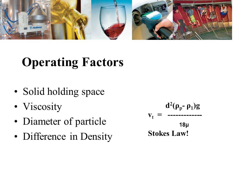Design Improvements Factors governing performance Volume of solids-Coagulation and Flocculation Settling Area-Residence Time