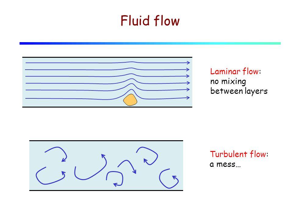 Fluid flow Laminar flow: no mixing between layers Turbulent flow: a mess…
