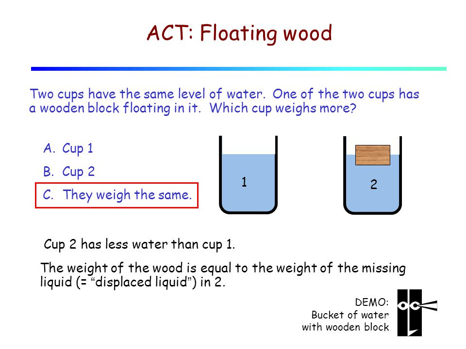 1 2 ACT: Floating wood Two cups have the same level of water.
