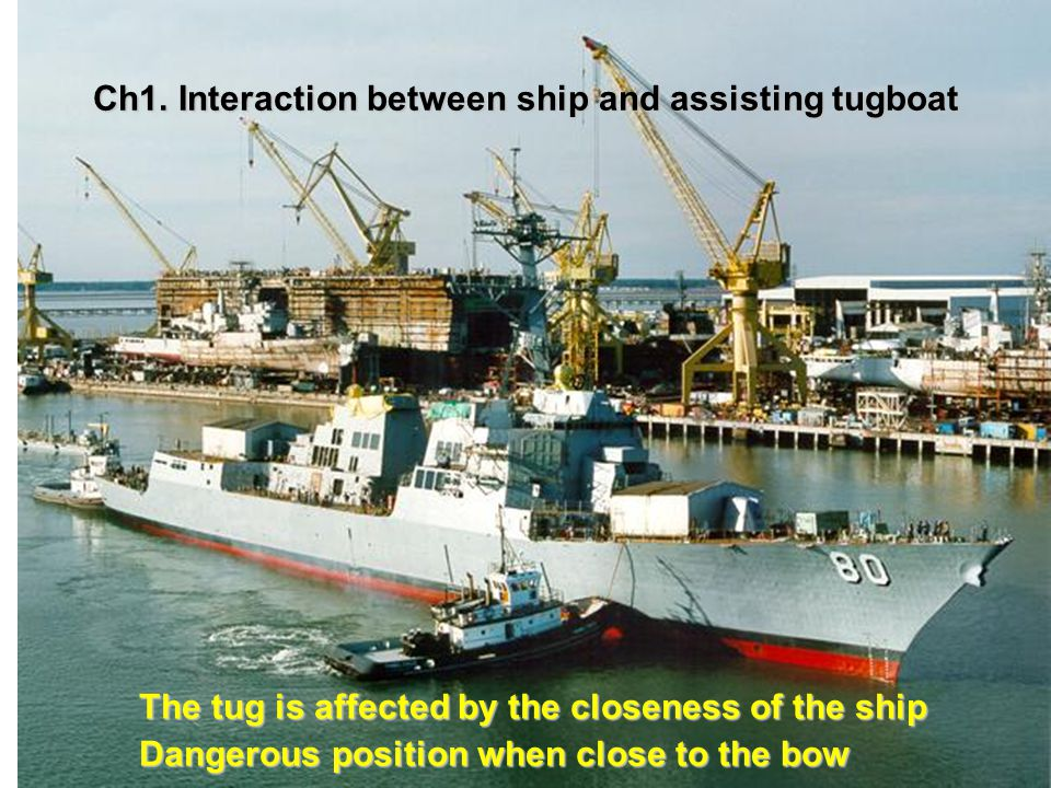 Ch1. Interaction between ship and assisting tugboat The tug is affected by the closeness of the ship Dangerous position when close to the bow