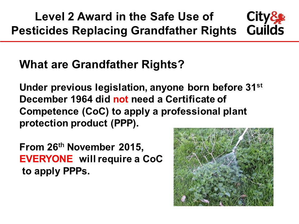 Level 2 Award in the Safe Use of Pesticides Replacing Grandfather Rights What are Grandfather Rights? Under previous legislation, anyone born before 3
