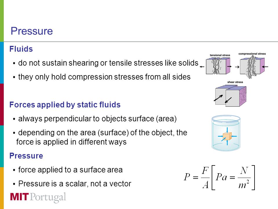 Pressure Fluids do not sustain shearing or tensile stresses like solids they only hold compression stresses from all sides Forces applied by static fluids always perpendicular to objects surface (area) depending on the area (surface) of the object, the force is applied in different ways Pressure force applied to a surface area Pressure is a scalar, not a vector