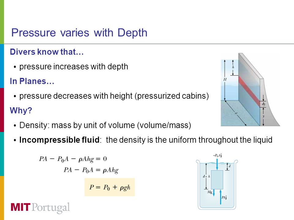 Pascal Law From the previous… the pressure is the same at all points having the same depth, independent of the shape of the container any increase in pressure at the surface must be transmitted to every other point in the fluid A change in the pressure applied to a fluid is transmitted undiminished to every point of the fluid and to the walls of the container.