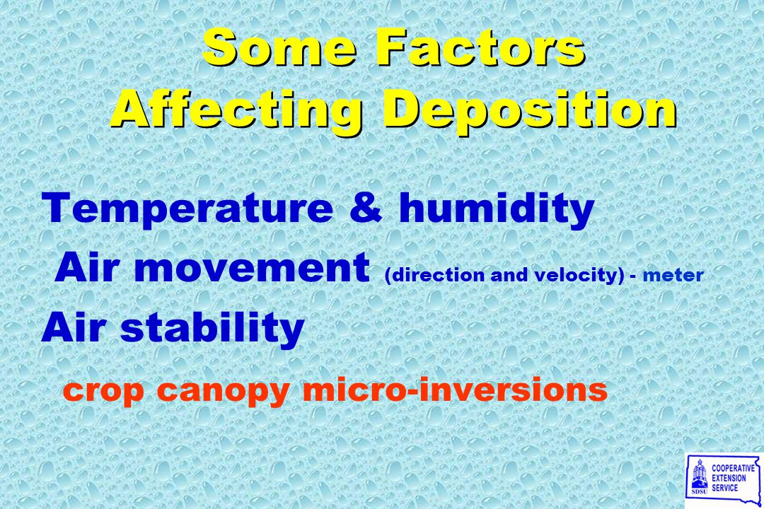 Temperature & humidity Air movement (direction and velocity) - meter Air stability crop canopy micro-inversions Temperature & humidity Air movement (direction and velocity) - meter Air stability crop canopy micro-inversions Some Factors Affecting Deposition