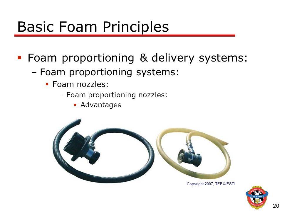 20 Basic Foam Principles  Foam proportioning & delivery systems: –Foam proportioning systems:  Foam nozzles: –Foam proportioning nozzles:  Advantages Copyright 2007, TEEX/ESTI