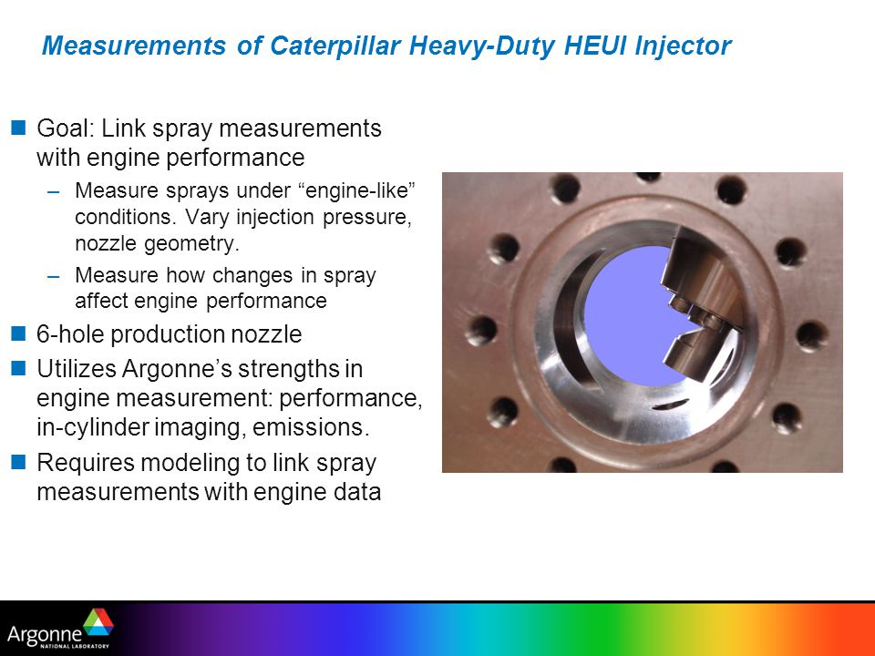 Measurements of Caterpillar Heavy-Duty HEUI Injector Goal: Link spray measurements with engine performance –Measure sprays under engine-like conditions.