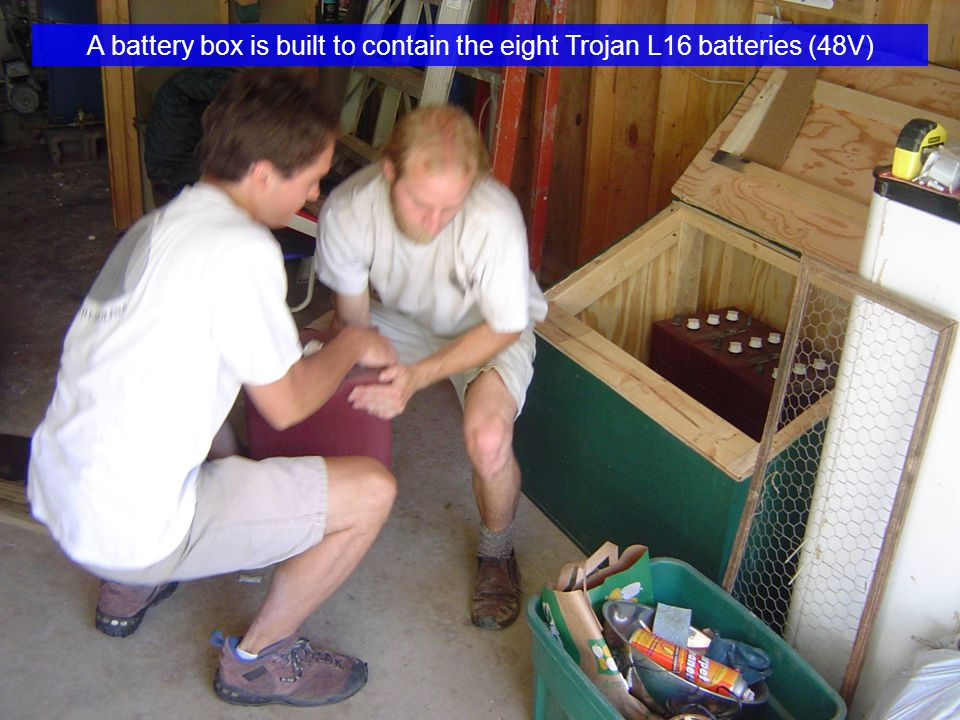 A battery box is built to contain the eight Trojan L16 batteries (48V)