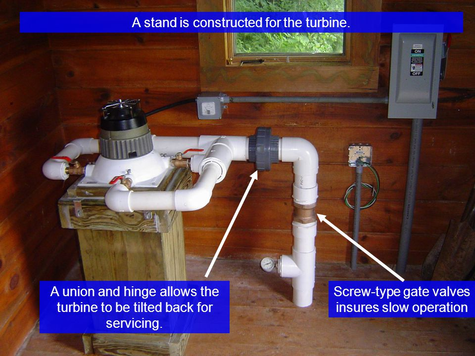 A stand is constructed for the turbine.