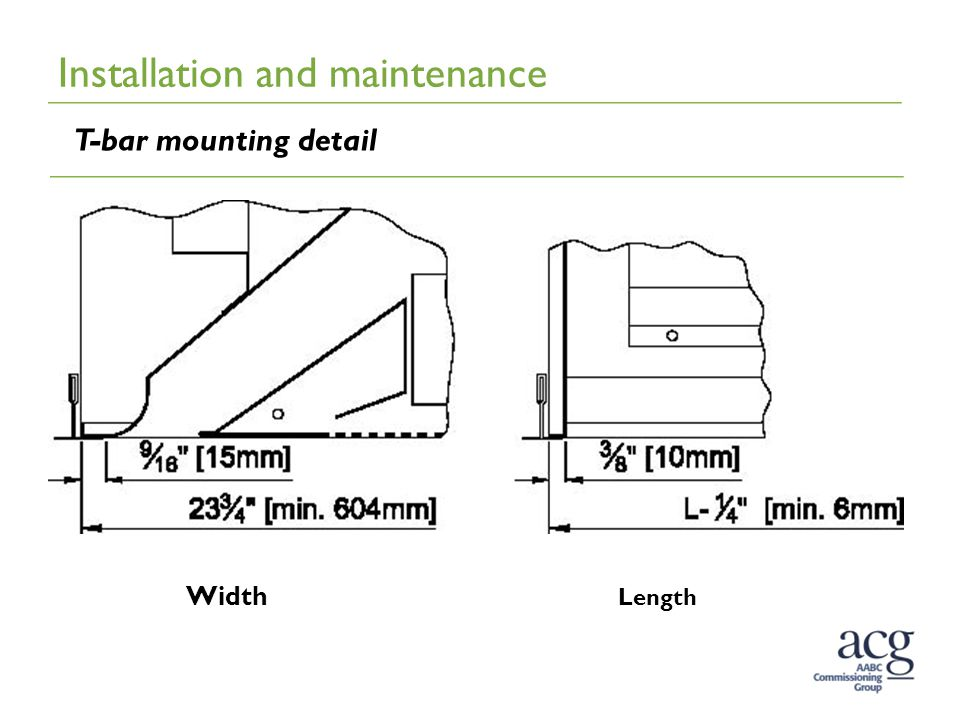 Installation and maintenance T-bar mounting detail Width Length