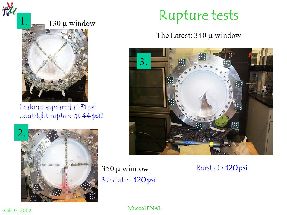 Feb. 9, 2002 Mucool FNAL Rupture tests Leaking appeared at 31 psi..outright rupture at 44 psi.