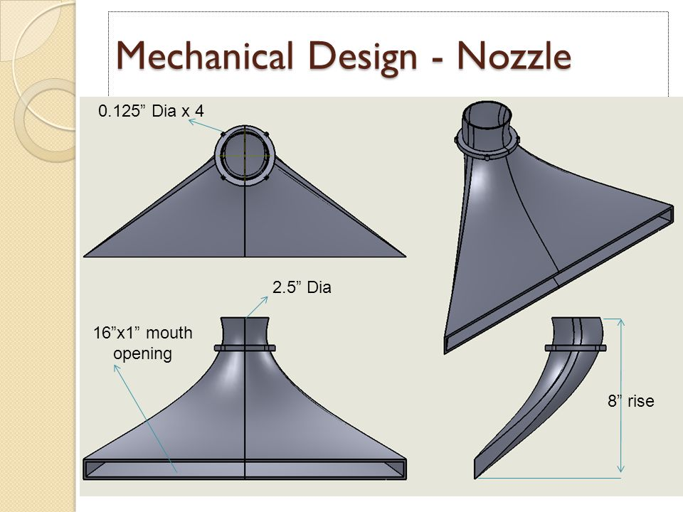 Mechanical Design - Nozzle 16 x1 mouth opening 2.5 Dia 8 rise 0.125 Dia x 4
