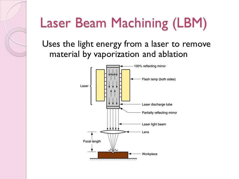 Laser Beam Machining (LBM) Uses the light energy from a laser to remove material by vaporization and ablation