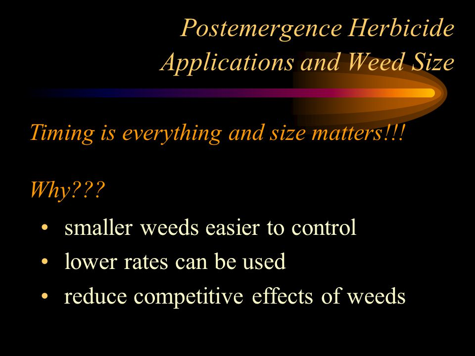 Postemergence Herbicide Applications and Weed Size smaller weeds easier to control lower rates can be used reduce competitive effects of weeds Timing