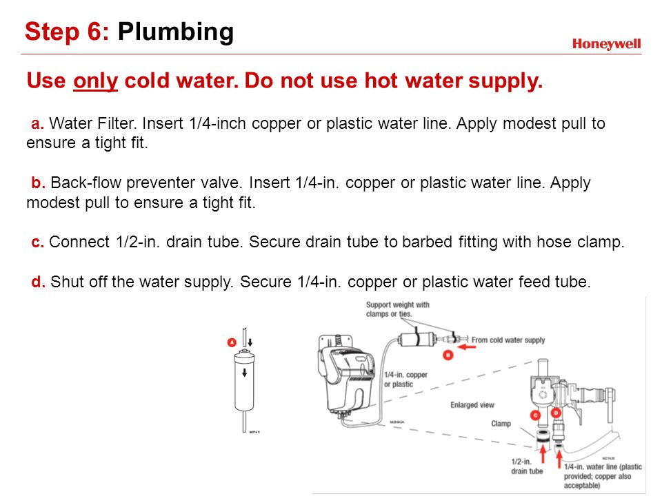 Step 6: Plumbing Use only cold water. Do not use hot water supply. a. Water Filter. Insert 1/4-inch copper or plastic water line. Apply modest pull to