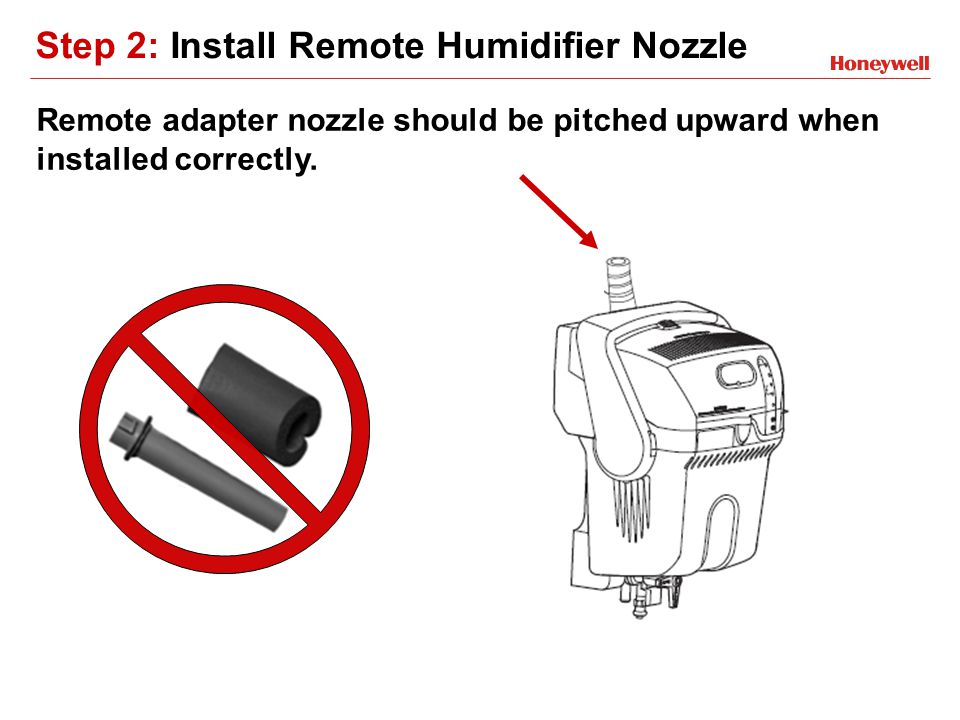 Step 2: Install Remote Humidifier Nozzle Remote adapter nozzle should be pitched upward when installed correctly.