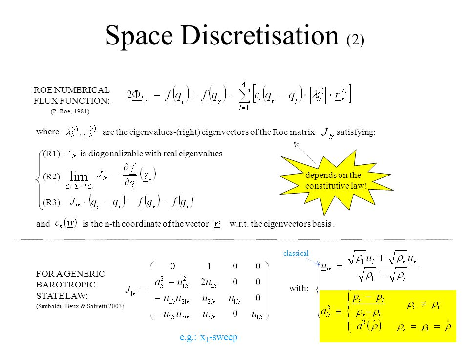 Space Discretisation (2) ROE NUMERICAL FLUX FUNCTION: (P.