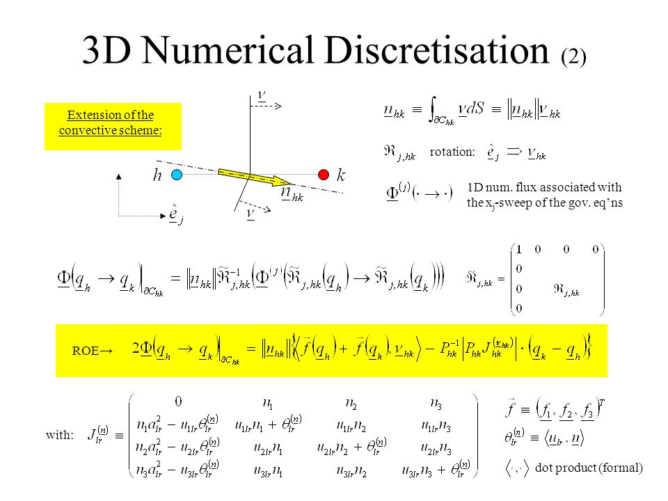 3D Numerical Discretisation (2) ROE→ with: dot product (formal) Extension of the convective scheme: 1D num.