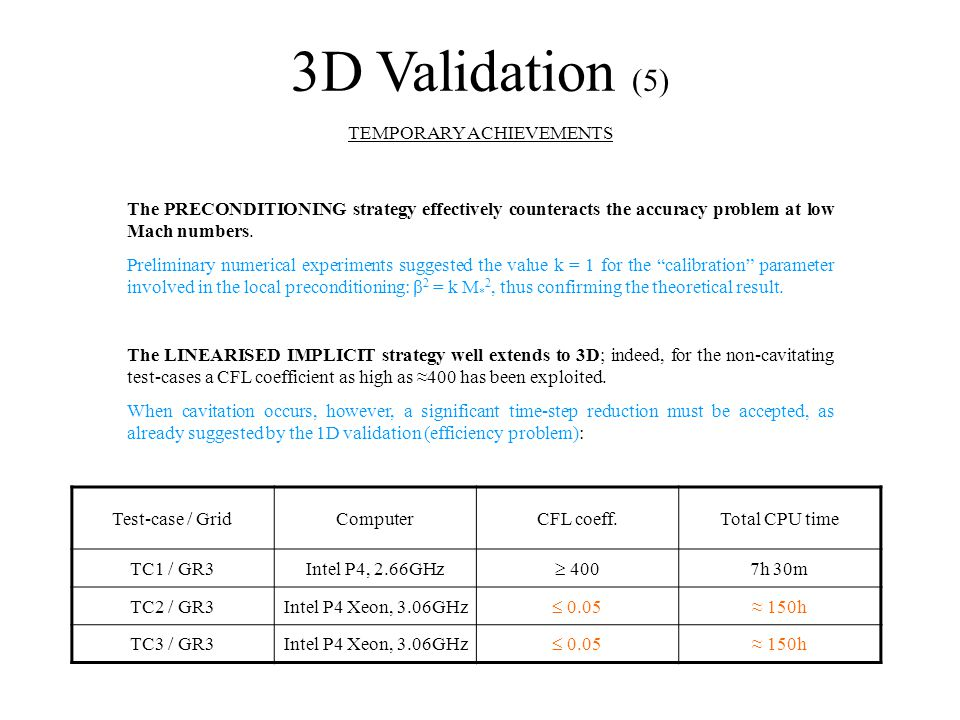 3D Validation (5) TEMPORARY ACHIEVEMENTS The PRECONDITIONING strategy effectively counteracts the accuracy problem at low Mach numbers.