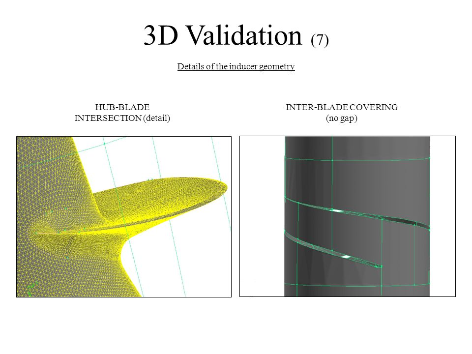 3D Validation (7) Details of the inducer geometry INTER-BLADE COVERING (no gap) HUB-BLADE INTERSECTION (detail)