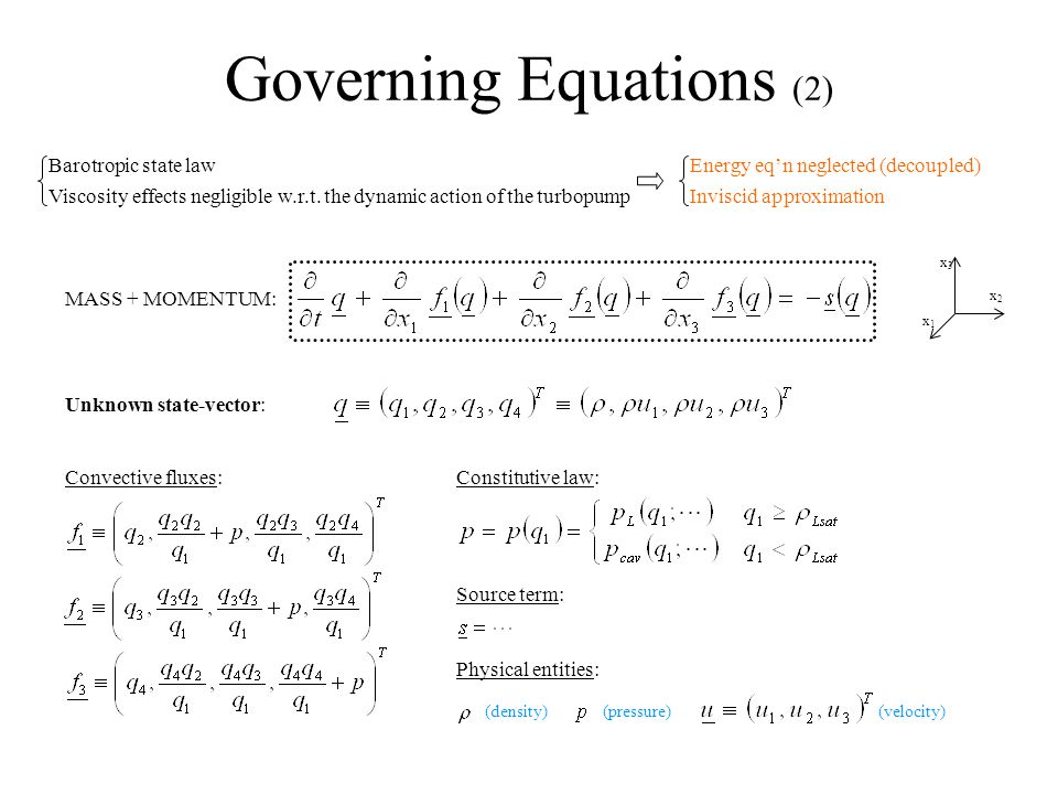 Governing Equations (2) Barotropic state law Viscosity effects negligible w.r.t.