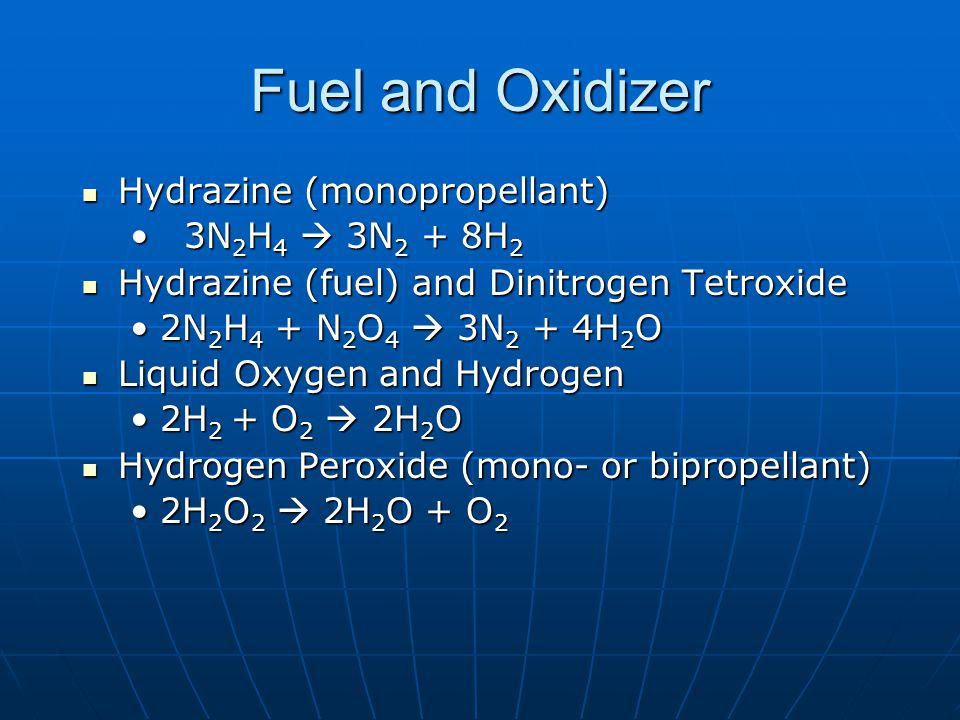 Fuel and Oxidizer Hydrazine (monopropellant) Hydrazine (monopropellant) 3N 2 H 4  3N 2 + 8H 2 3N 2 H 4  3N 2 + 8H 2 Hydrazine (fuel) and Dinitrogen