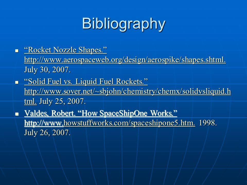 "Bibliography ""Rocket Nozzle Shapes."" http://www.aerospaceweb.org/design/aerospike/shapes.shtml. July 30, 2007. ""Rocket Nozzle Shapes."" http://www.aero"