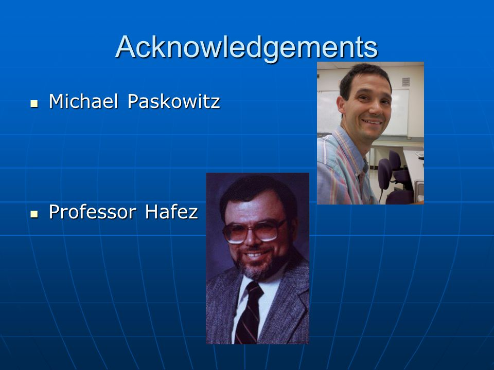 Acknowledgements Michael Paskowitz Michael Paskowitz Professor Hafez Professor Hafez