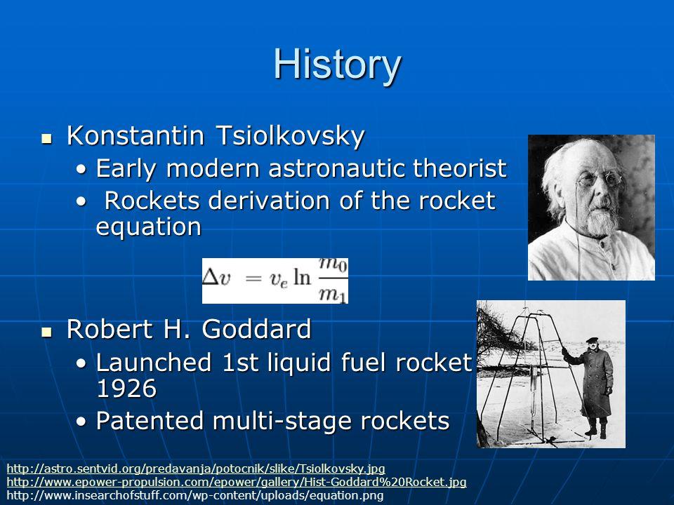 History Konstantin Tsiolkovsky Konstantin Tsiolkovsky Early modern astronautic theoristEarly modern astronautic theorist Rockets derivation of the roc