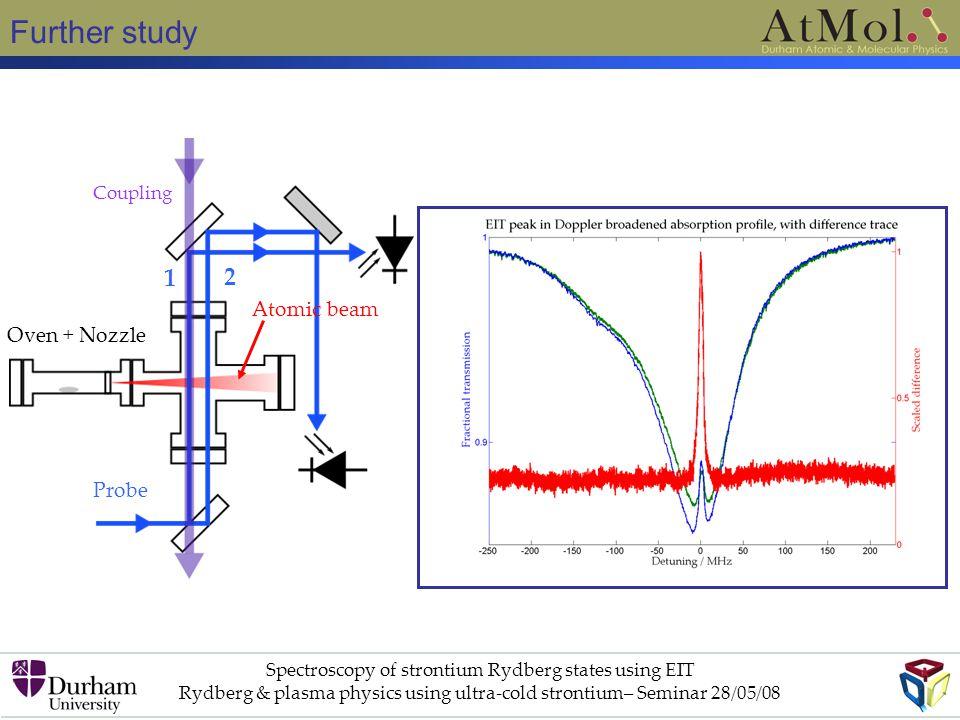 Further study Spectroscopy of strontium Rydberg states using EIT Rydberg & plasma physics using ultra-cold strontium– Seminar 28/05/08 Oven + Nozzle Probe Coupling Atomic beam 1 2