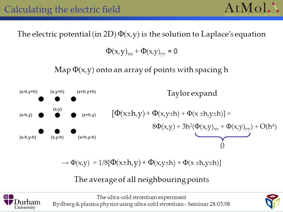 Calculating the electric field The electric potential (in 2D) Φ(x,y) is the solution to Laplace's equation Φ(x,y) xx + Φ (x,y) yy = 0 Map Φ(x,y) onto an array of points with spacing h Taylor expand [Φ(x±h,y) + Φ (x,y±h) + Φ(x ±h,y±h)] = 8Φ(x,y) + 3h 2 (Φ(x,y) xx + Φ(x,y) yy ) + O(h 4 ) 0 → Φ(x,y) ≈ 1/8[ Φ(x±h,y) + Φ (x,y±h) + Φ(x ±h,y±h)] The average of all neighbouring points The ultra-cold strontium experiment Rydberg & plasma physics using ultra-cold strontium– Seminar 28/05/08