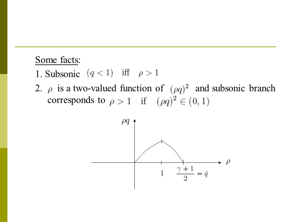 Some facts: 1. Subsonic 2. is a two-valued function ofand subsonic branch corresponds to 1
