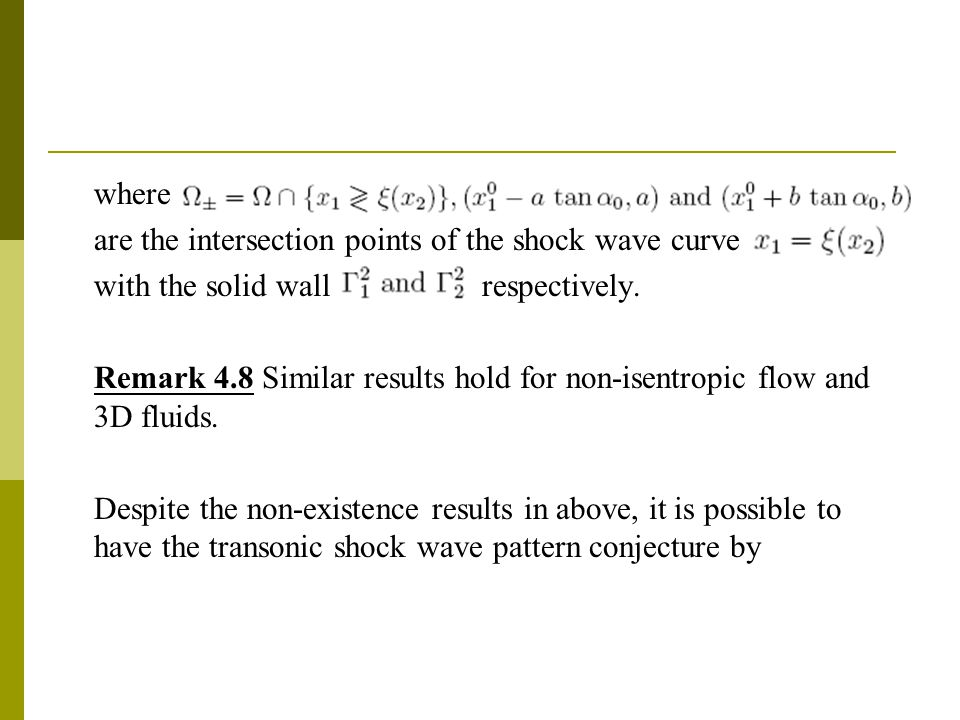 where are the intersection points of the shock wave curve with the solid wall respectively.