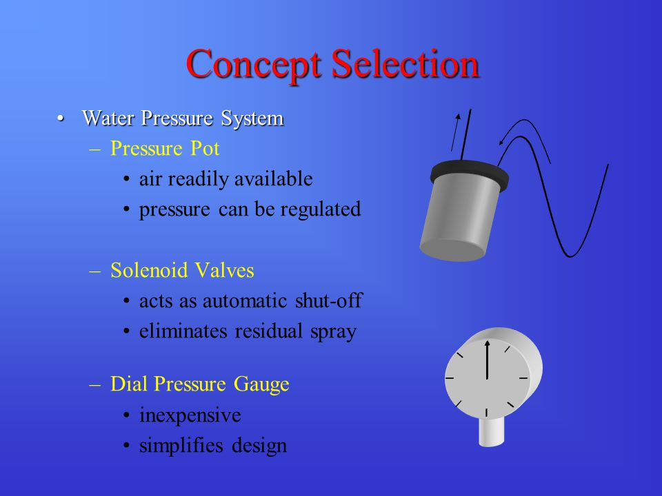 Concept Selection Water Pressure SystemWater Pressure System –Pressure Pot air readily available pressure can be regulated –Solenoid Valves acts as automatic shut-off eliminates residual spray –Dial Pressure Gauge inexpensive simplifies design