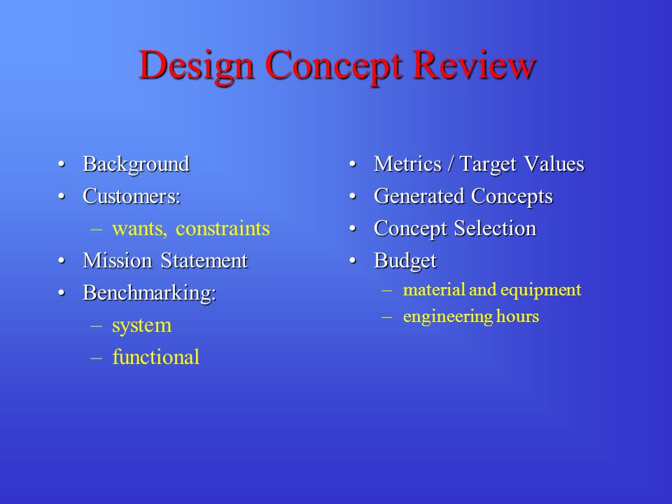 Design Concept Review BackgroundBackground Customers:Customers: –wants, constraints Mission StatementMission Statement Benchmarking:Benchmarking: –sys
