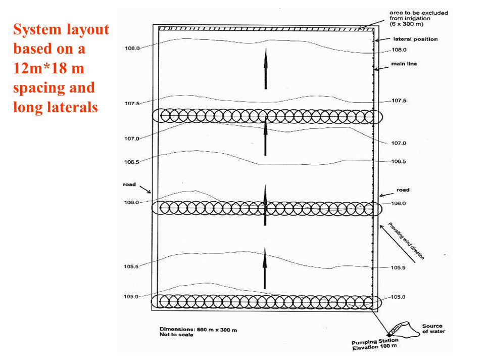 System layout based on a 12m*18 m spacing and long laterals