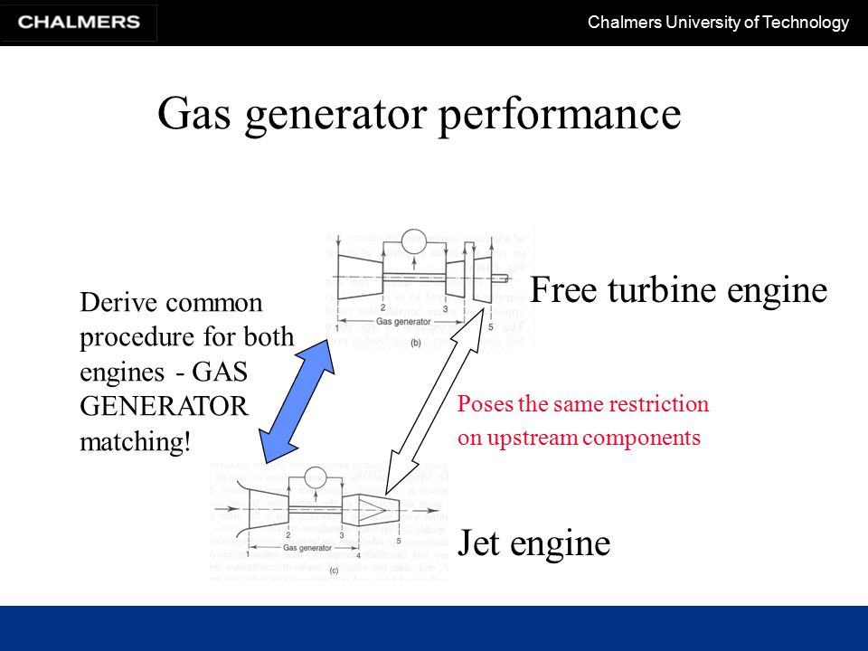 Chalmers University of Technology Gas generator performance Poses the same restriction on upstream components Jet engine Free turbine engine Derive common procedure for both engines - GAS GENERATOR matching!