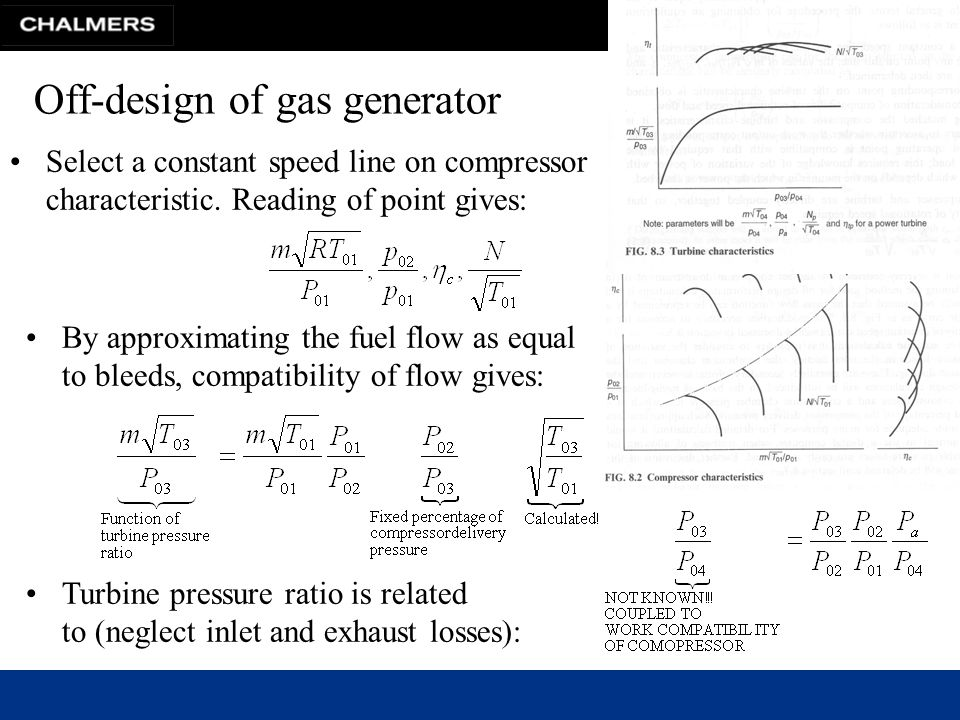 Chalmers University of Technology Off-design of gas generator Select a constant speed line on compressor characteristic.
