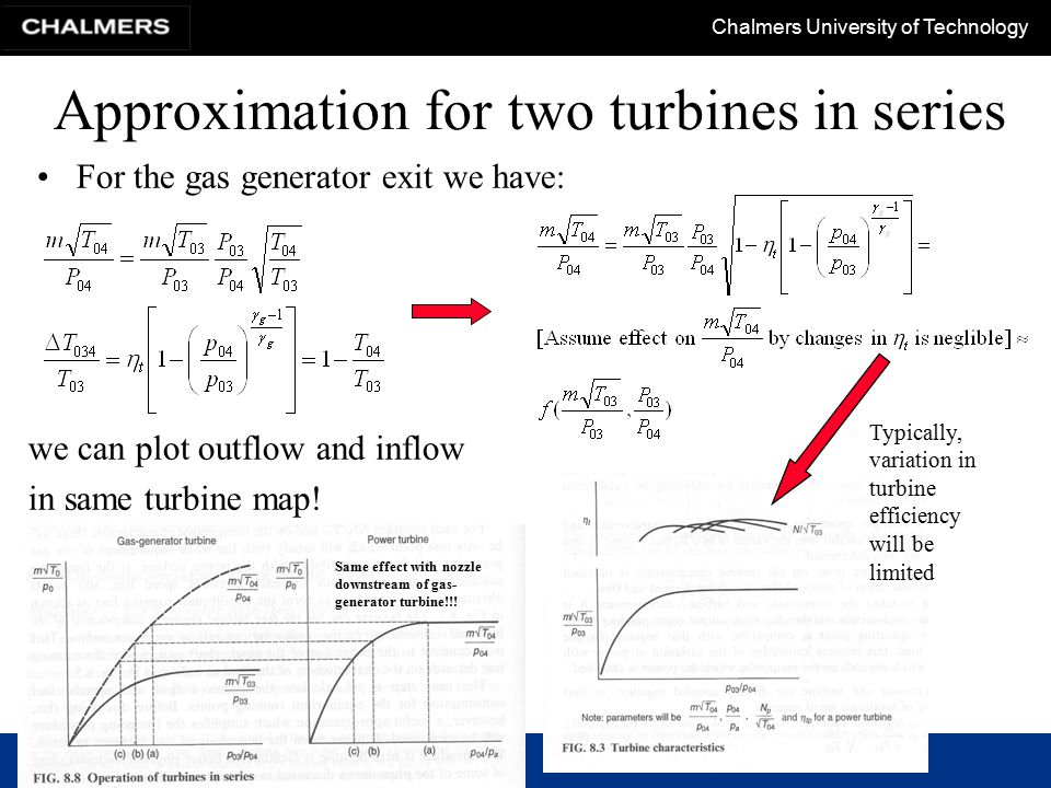 Chalmers University of Technology Approximation for two turbines in series For the gas generator exit we have: we can plot outflow and inflow in same turbine map.