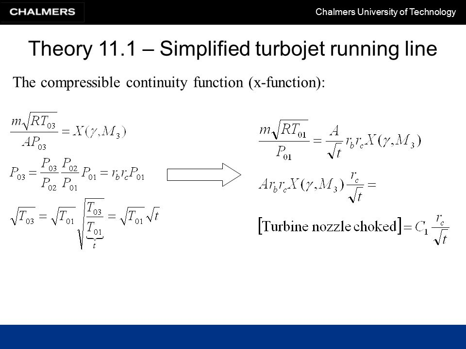 Chalmers University of Technology The compressible continuity function (x-function): Theory 11.1 – Simplified turbojet running line
