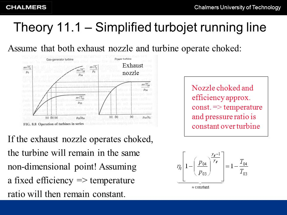 Chalmers University of Technology Theory 11.1 – Simplified turbojet running line Assume that both exhaust nozzle and turbine operate choked: If the exhaust nozzle operates choked, the turbine will remain in the same non-dimensional point.