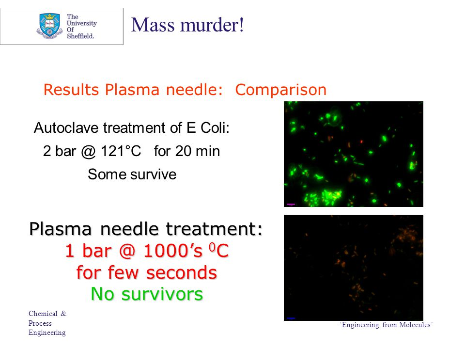 Chemical & Process Engineering 'Engineering from Molecules' Mass murder! Results Plasma needle: Comparison Autoclave treatment of E Coli: 2 bar @ 121°