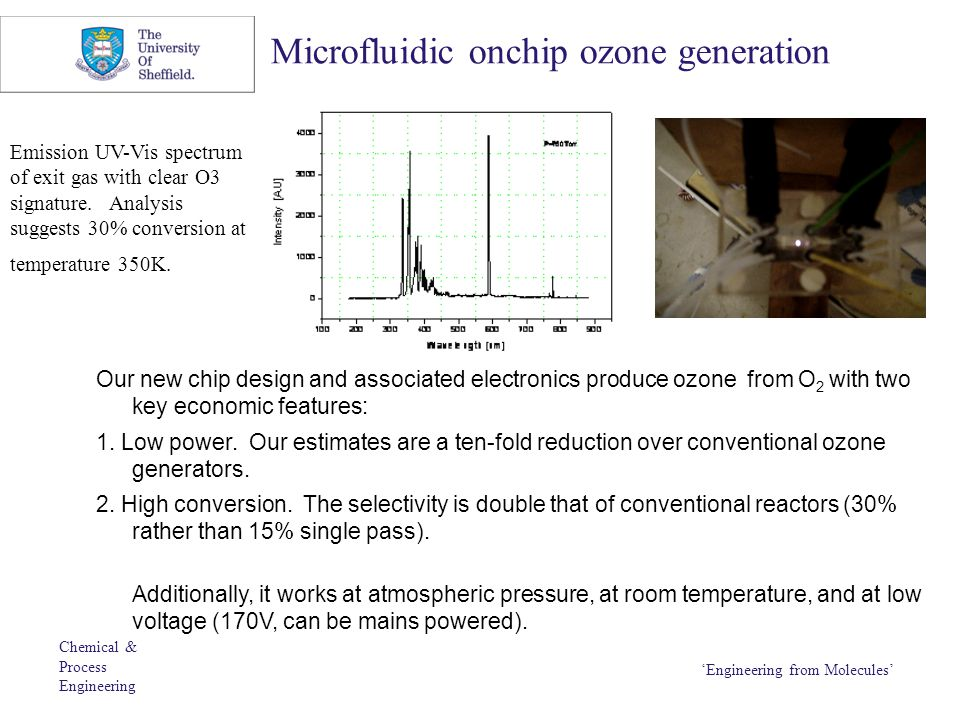 Chemical & Process Engineering 'Engineering from Molecules' Microfluidic onchip ozone generation Our new chip design and associated electronics produc