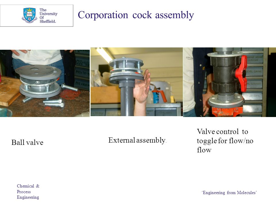 Chemical & Process Engineering 'Engineering from Molecules' Corporation cock assembly Ball valve External assembly. Valve control to toggle for flow/n