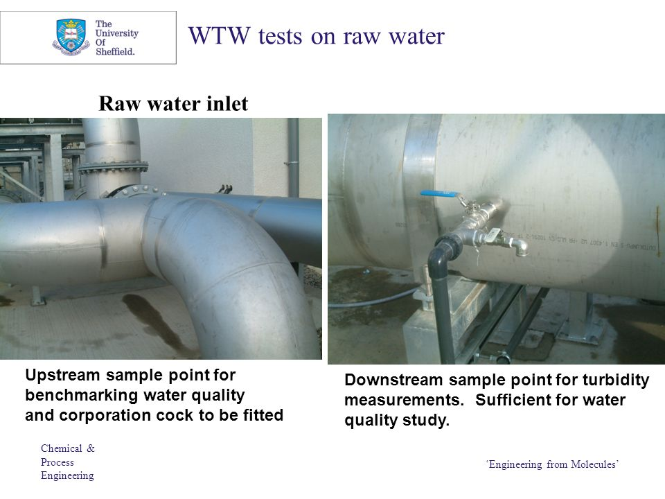 Chemical & Process Engineering 'Engineering from Molecules' WTW tests on raw water Raw water inlet Upstream sample point for benchmarking water qualit