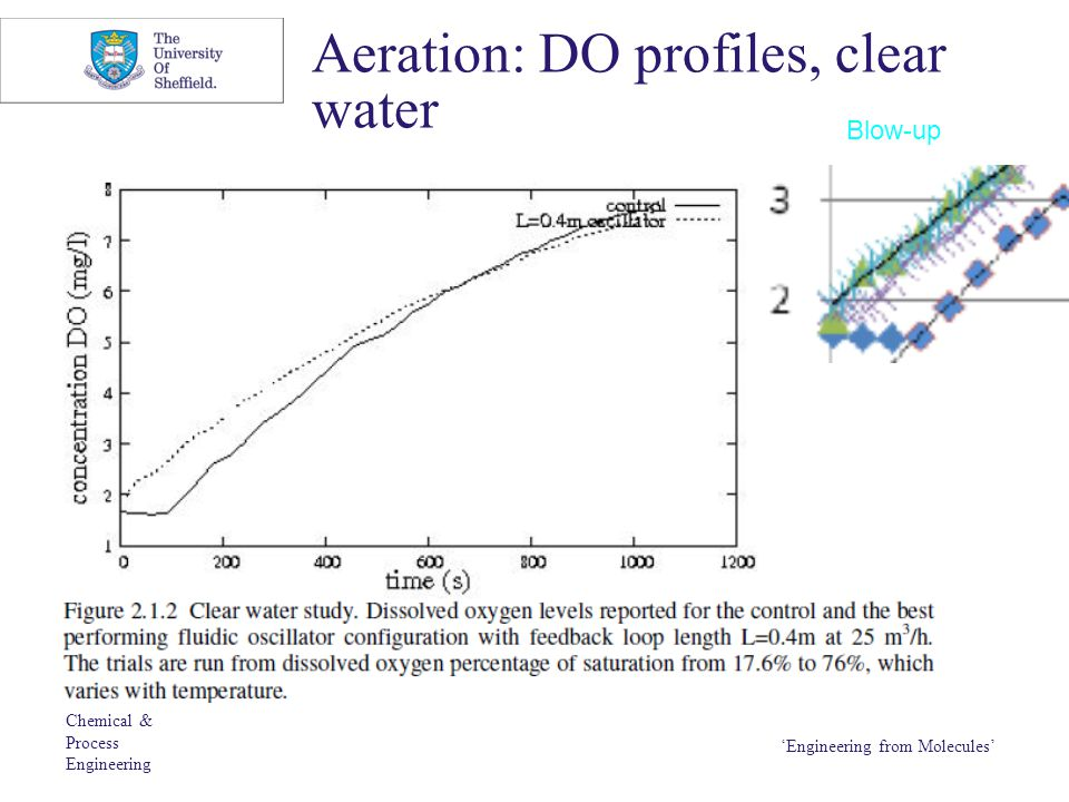 Chemical & Process Engineering 'Engineering from Molecules' Aeration: DO profiles, clear water Blow-up